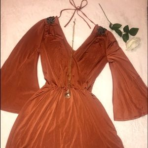 Beautiful Burnt Orange Elegant Dress